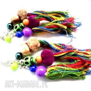 kolczyki długie wiszące etno z czaszką, kolczyki, czaszka, etno, kolorowe