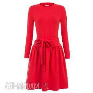 bien fashion czerwona sukienka z kokardą w pasie xs, rozkloszowana, midi, bawełniana