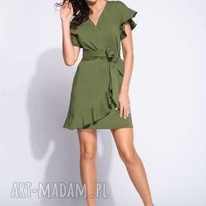 Zielona sukienka z wiązaniem w talii i falbankami, bawełniana, midi, kopertowa,