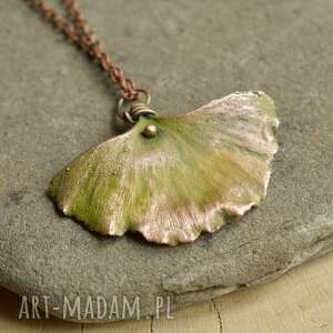 Liść miłorzębu - naszyjnik z prawdziwym liściem naszyjniki
