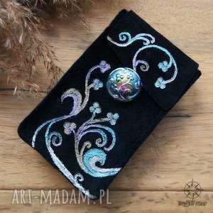 Skórzane etui na karty tarota - Pnącza, ręcznie robione i malowane, karty, tarot
