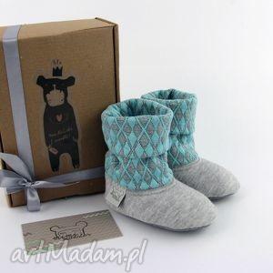 Bambosze z golfem hand made szaro - turkusowe buciki mimi