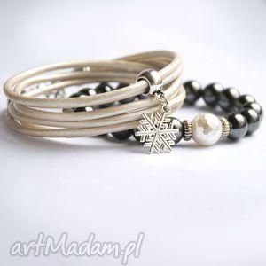 promocja komplet śnieżynkowy z perłą, zima, święta biżuteria