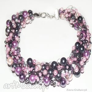 ręczne wykonanie naszyjniki różowe perły