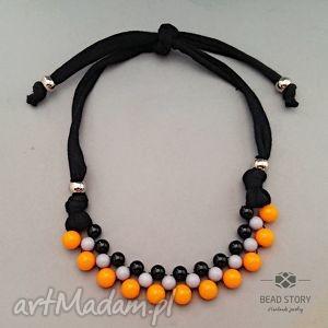 naszyjnik z korali pomarańczowym szarym czarnym - korale, kolorowe, akryl, bawełna