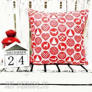 handmade na święta prezent poduszka xmas thema - red 40x40cm