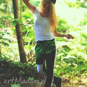 efektowne spodnie z niskim krokiem marihuana trawka gandzia, spodnie, wysoka