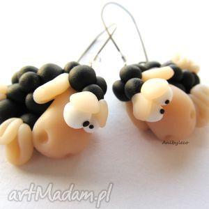 świąteczne prezenty KOLCZYKI czarne owieczki z kryształkami, kolczyki, modelina, fimo