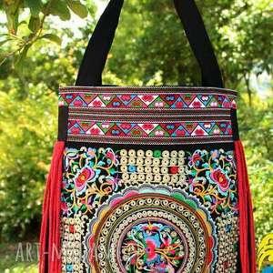hand made na ramię torebka etniczna haftowana miejska
