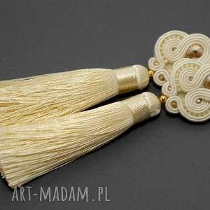 kremowe kolczyki sutasz ze Swarovskim, sznurek, swarovski, ślubne, wiszące, długie