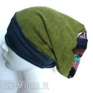 czapka wełniana uniwersalna na podszewce, wełna zima etno boho, zielona