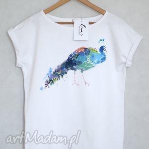 PAW koszulka bawełniana biała S/M, koszulka, oversize, paw, nadruk, bawełna,