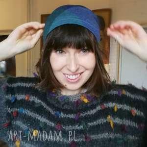 czapka dzianina kratka niebieska sportowa smerfetka, kratka, dresowa, damska