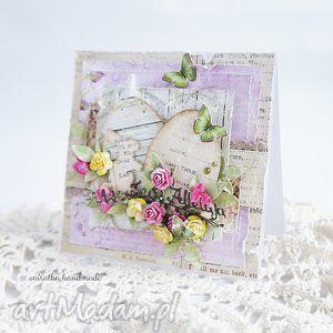 Z pisankami - kartka w pudełku - ,kartka,wielkanocna,wielkanoc,święta,romantyczna,pisanki,