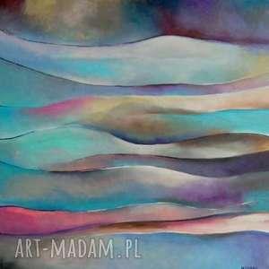 obraz na płótnie - abstrakcja 50/50 cm, abstrakcja, róż, akryl, zieleń, niebieski
