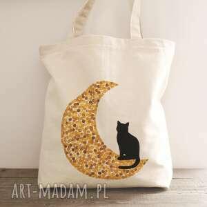 Ręcznie malowana torba z kotem tsomoriridesign torba, ekotorba