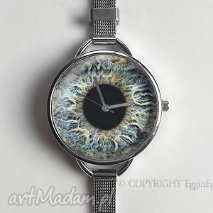 źrenica - zegarek z dużą tarczką 0921ws srebrny, oko