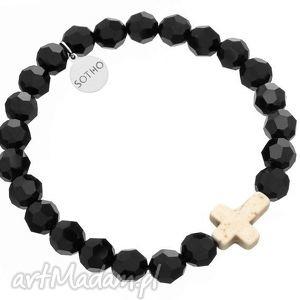 hand-made czarna męska kryształowa bransoletka biały krzyż howlit swarovski®