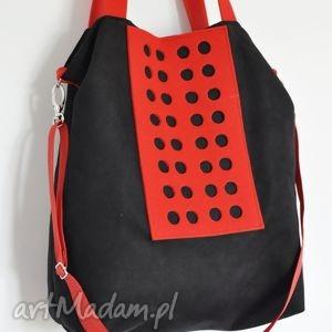 na ramię torba hobo xxl - czerń, czerwień, hobo, ażur, alcantara, filc