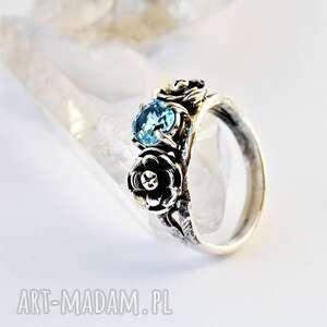 dziki krolik pierścień z topazem, topaz, pierścionek zaręczynowy, romantyczny
