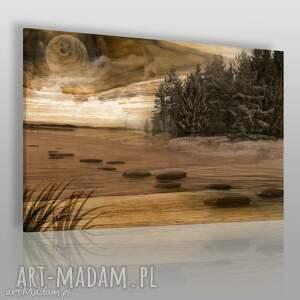 obrazy obraz na płótnie - pejzaż las drewno 120x80 cm 41301, drewno, deska