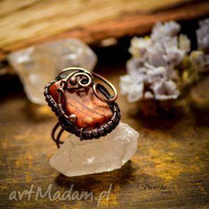 ADRAHIL- DUŻY PIERŚCIONEK Z JASPISEM, pierścionek, miedź, wirwrapping