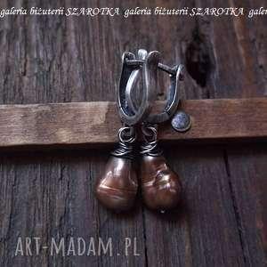 gruszki w likierze kolczyki z naturalnych pereł i srebra, perła, naturalna