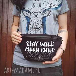 wyjątkowy prezent, nerka xxl stay wild, nerka, moon, księżyc, czarna, zhaftem