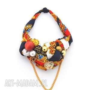 belle epoque naszyjnik handmade, naszyjnik, kolia, kolorowy, wielobarwny, czerwony