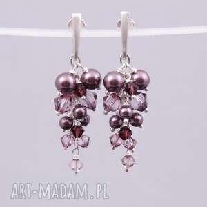 monle kolczyki grona burgundy swarovski - kryształy swarovski, perły