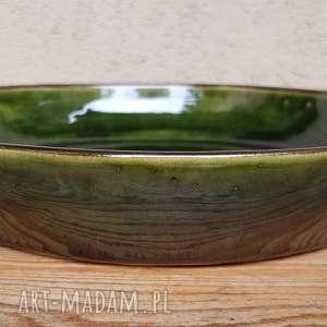 Talerz - misa ciemnozielony 1, ceramika, talerz, misa, glina, rękodzieło