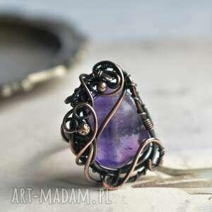 ametyst - duży pierścionek z miedzi, duży, ametystem