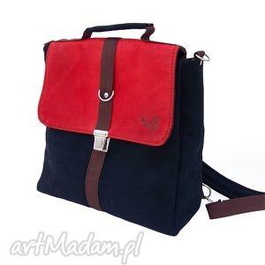 plecak torba czerwień-granat, plecak, torba, zamsz, skóra, tornister, teczka