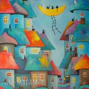 obraz na płótnie - bajkowe miasteczko 40/50 cm, abstrakcja, obraz, bajka, koty, akryl
