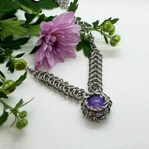 naszyjnik chainmaille z agatem - stal szlachetna, agat, chainmaille, kamienie