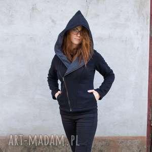 Bluza Yamir z kapturem , kurtka, dresówka, asymetryczna, ramoneska, na-zamek,