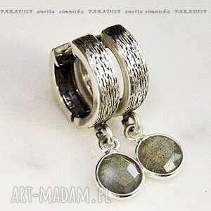 srebro, kolczyki - limitowana seria, labradoryty w oprawie