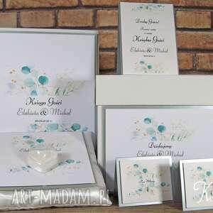 księga gości weselnych, pudełko na koperty, poduszka obrączki i winietki