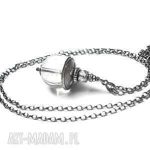 magical ball vol 3 - naszyjnik - srebro, oksydowane, kryształ, górski