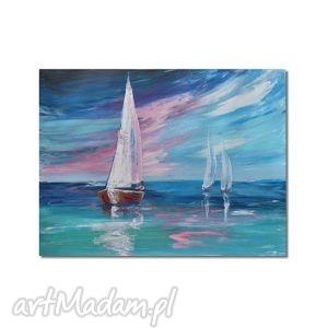 obrazy żagle, pejzaż morski, nowoczesny obraz ręcznie malowany, morze, żaglówki