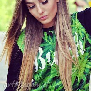 modny dres z aplikacją 3d marihuana trawka komplet, dres, bluza, spodnie
