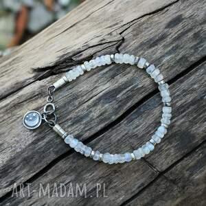 kamień księżycowy - bransoletka ii, księżycowy, srebro, srebrne