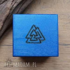 ręcznie malowane drewniane pudełko valknut - niebieskie - pudełko