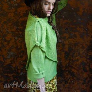 Zielony sweter z szalem, sweter, szal, wełna