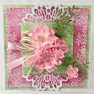 Kartka z kwiatami, kartka, życzenia, scrapbooking