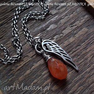 rudy anioŁ naszyjnik z karneolu i srebra - karneol, kropla, srebro, oksydowane