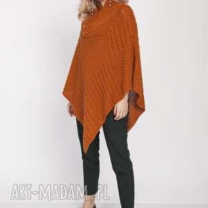 hand-made swetry dzianinowe poncho, swe207 karmel mkm