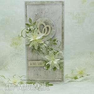 scrapbooking kartki kartka ślubna z obrączkami w pudełku, ślub