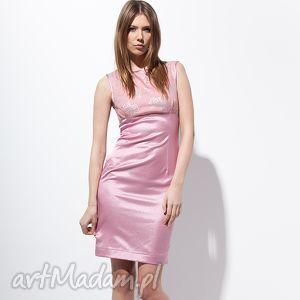 carlie sukienka 40 różowa - moda, bawełna
