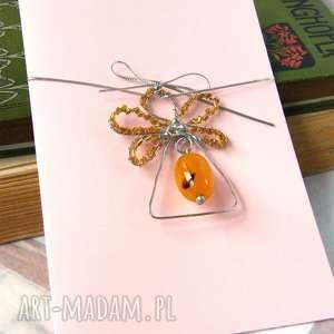 kartki kartka na życzenia 3d z żółtym aniołkiem, aniołek, świąteczna